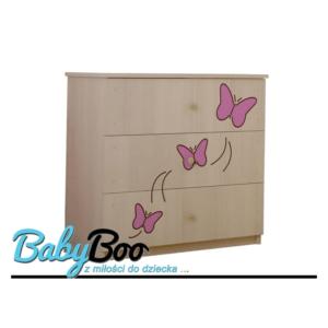 komoda grawer rozowe motylki