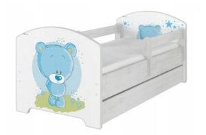 niebieski mis łóżko