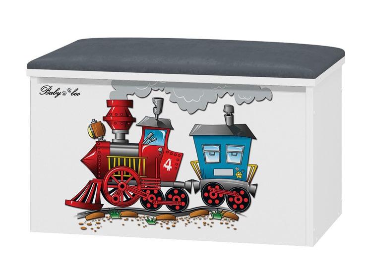 Tapicerowany pojemnik na zabawki Pociąg