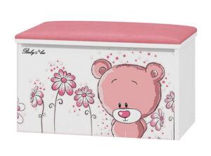 Tapicerowany pojemnik na zabawki Różowy Miś