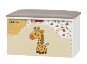 Tapicerowana skrzynia na zabawki Żyrafa