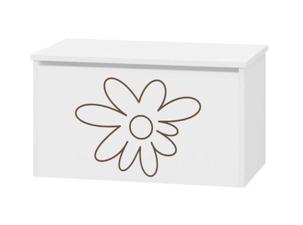 pojemnik na zabawki dla dzieci biały kwiatki