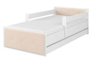 Łóżko tapicerowane beżowe surf biały