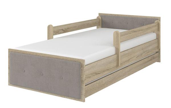 Łóżko tapicerowane brązowe dąb sonoma