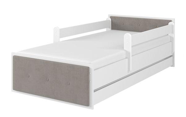 Łóżko tapicerka brązowa biały gładki