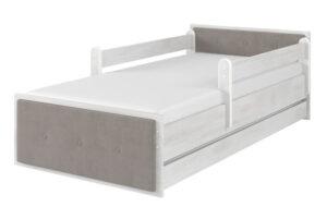 Łóżko dla dzieci tapicerka brązowa surf biały