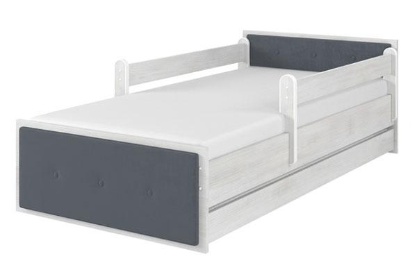 Łóżko tapicerowane szare surf biały