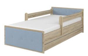 Łóźko tapicerowane niebieskie dąb sonoma