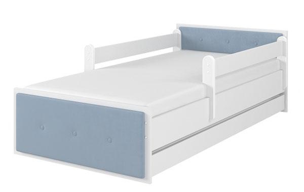 Łóżko tapicerka niebieska biały gładki