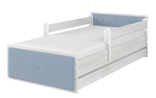 Łóżko tapicerka niebieska surf biały