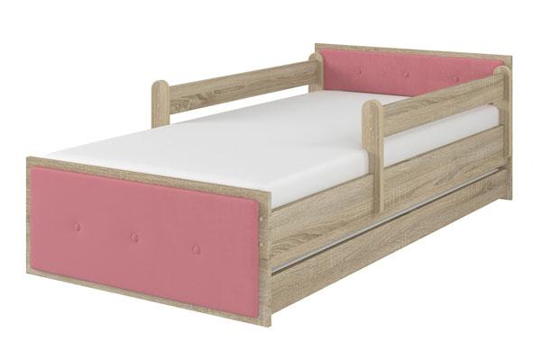 Łóżko tapicerowane różowe dąb sonoma