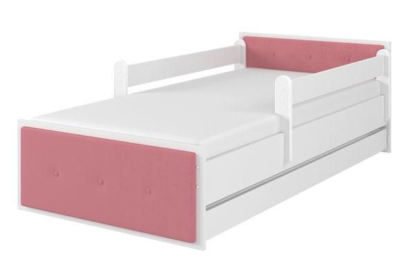 Łóżko tapicerka różowa biały gładki