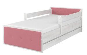 Łóżko tapicerowane różowe surf biały